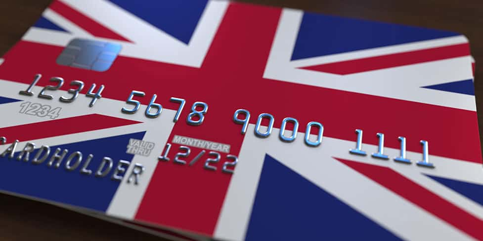 A credit card with the Union Jack printed on the front, illustrating the concept of UK business bank accounts for non-UK residents