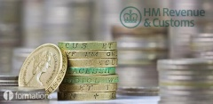 one pound coins and HMRC logo