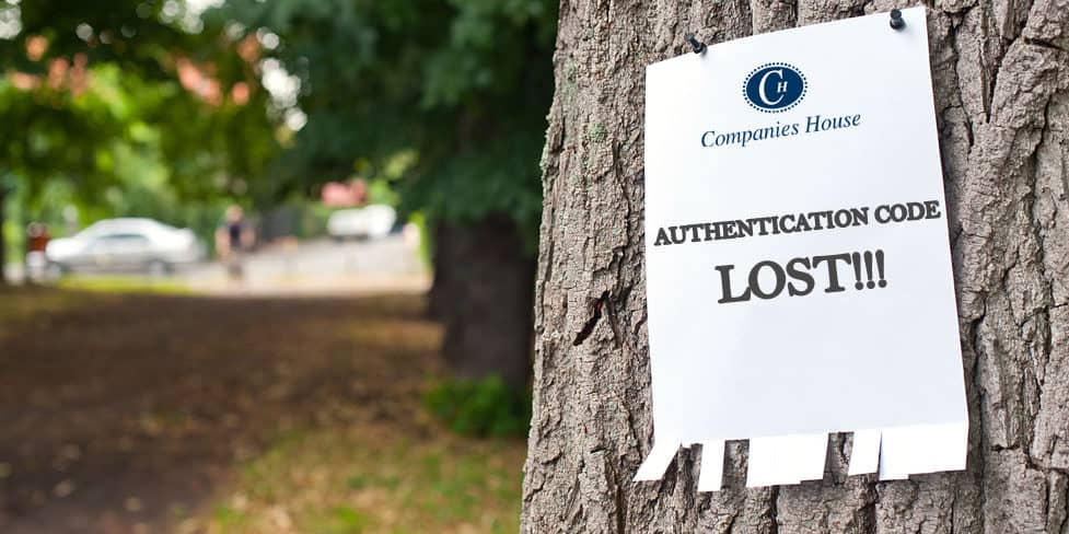 Image with notice nailed to a tree with the headline 'AUTHENTICATION CODE LOST!!!'