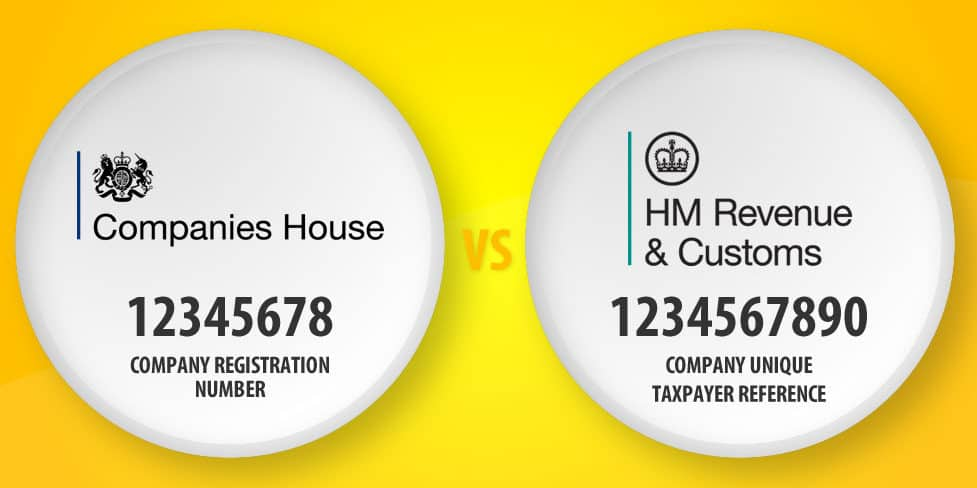 An illustration displaying two white circles against a yellow background. One circle shows an example of a registered company number under the Companies House logo; the other circle shows an example of a Unique Tax Reference under the HMRC logo.