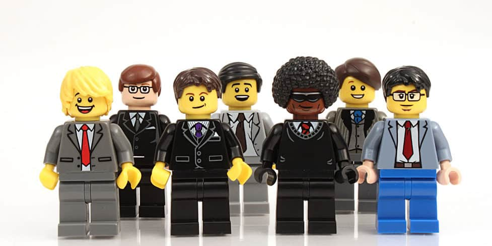 A group of Lego Men in business suits, symbolising members of a Limited Liability Partnerships.