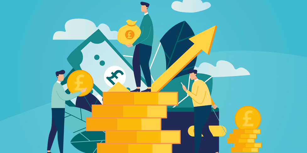 A cartoon illustration with business people standing on and moving around a pile of large coins.