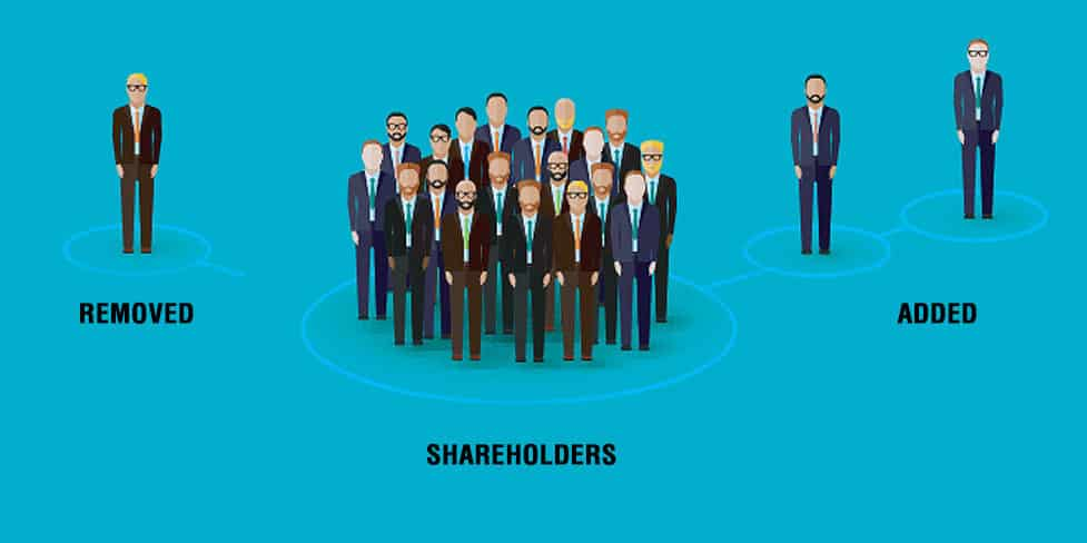 A computer-generated image illustrating the process of adding and removing company shareholders. A group of individuals are in the centre, standing above the word 'shareholders'. One individual standing above the word 'removed' is on the left of the image, and two individuals above the word 'added' are on the right of the image, both linked to the group by a line.