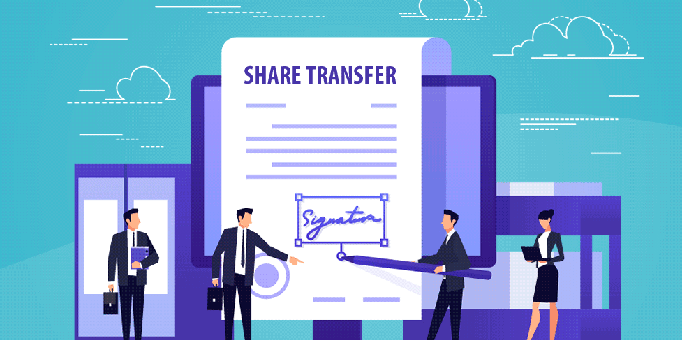Vector image of a giant share certificate being signed by miniature business people, signifying confirmation of the issue or transfer of company shares.