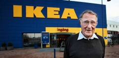 An image of Ingvar Kamprad standing in front of an IKEA store