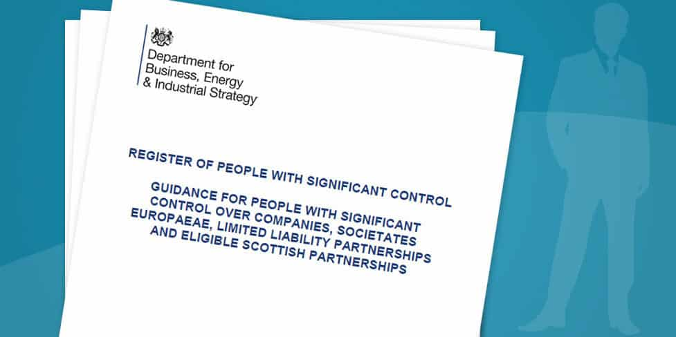 Image of a white, A4 sheet of paper showing the Companies House logo and the words Register of People with Significant Control printed underneath.