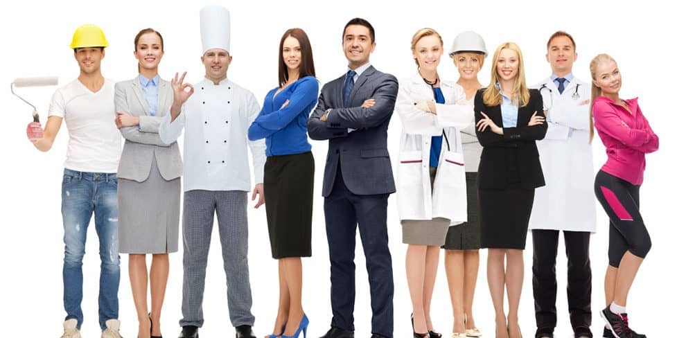 Group of people dressed in various occupational outfits, including business people, a chef, a doctor, and trades people, representing the variety of business skills required for different jobs.
