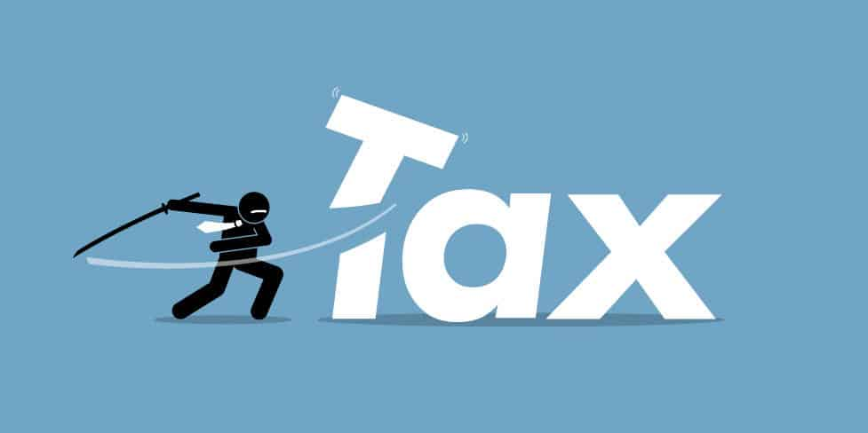 Illustration showing ninja character slashing through the 'T' of the word 'Tax' symbolising the concept of cutting your tax bill.