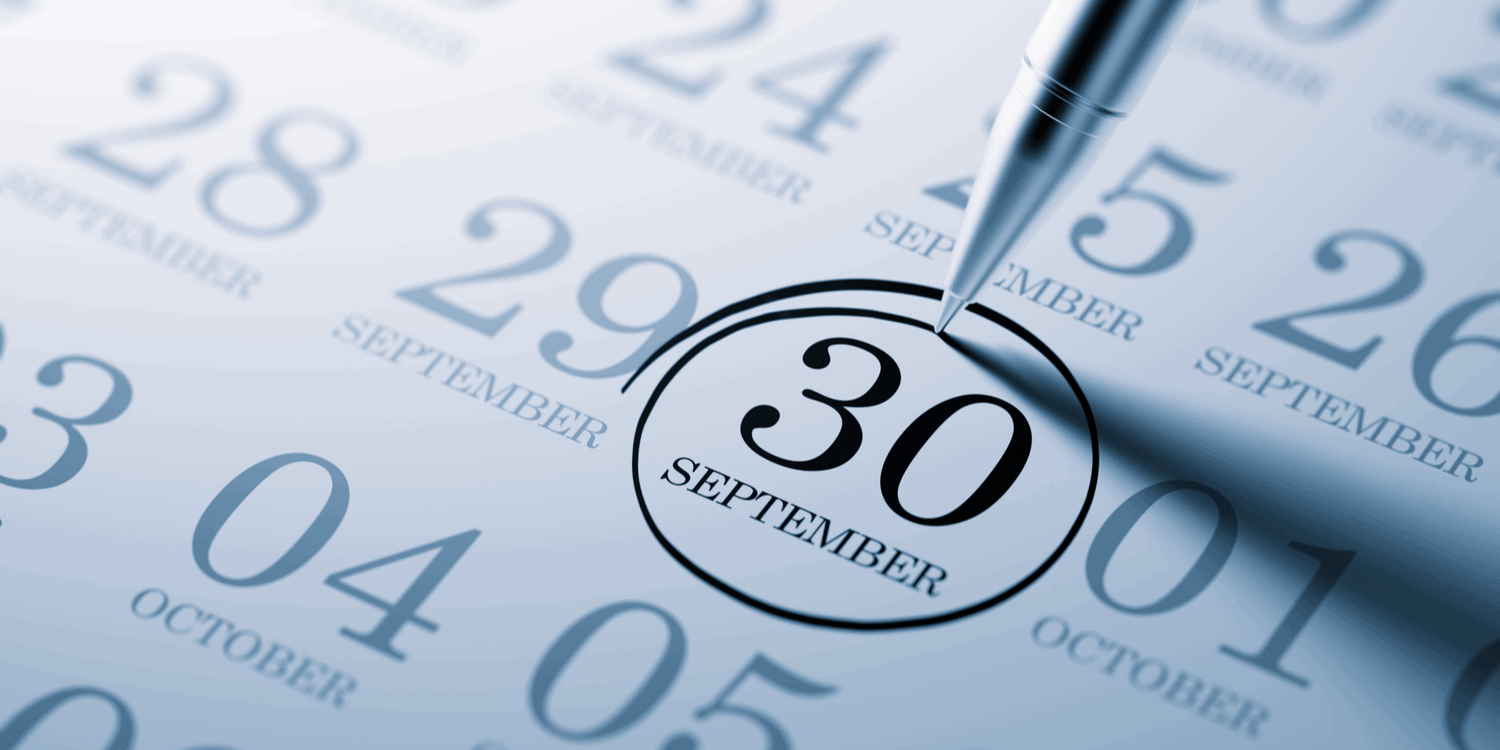 A pen circling '30 September' on a calendar, denoting the popular annual deadline for filing company accounts