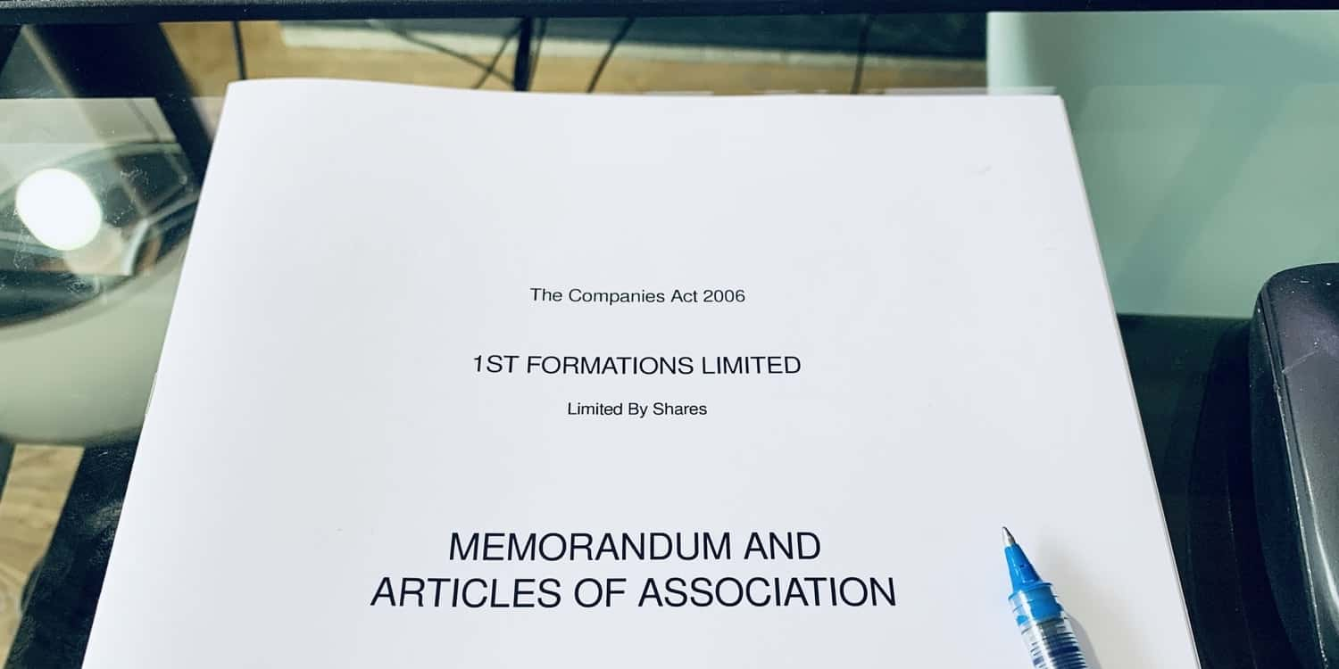 A photograph of the front cover of a printed copy of 1st Formations' Memorandum and Articles of Association.