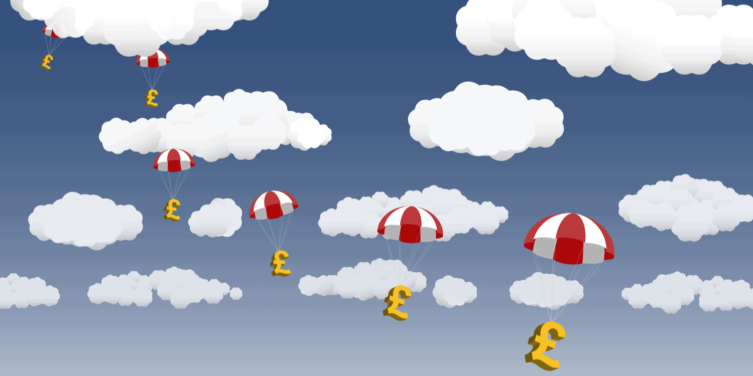 Illustration of cloudy blue sky with red and white parachutes attached to gold coloured pound signs.