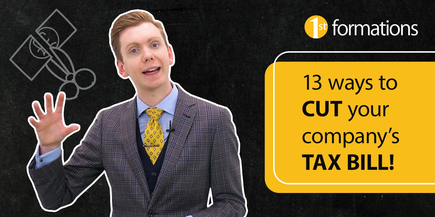 Image of video presenter Nicholas Campion in tweed suit with yellow tie and video title '13 ways to cut your company's tax bill' in black text on a yellow background.