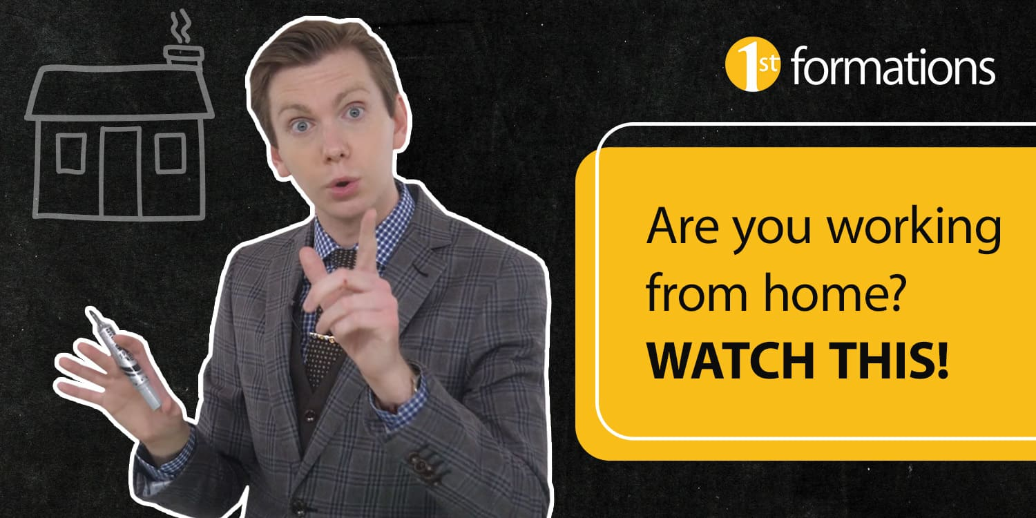 Image of video presenter Nicholas Campion in tweed suit with blue shirt and dark tie and video title 'Working from home? WATCH THIS' in black text on a yellow background.