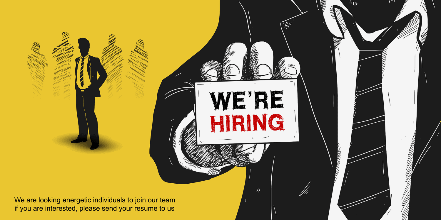 Illustration in black with with yellow background. Businessman holding a card in front of him saying 'We're hiring'.