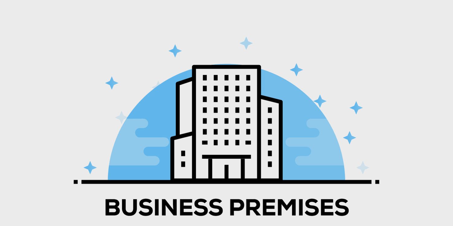 Illustration of office building with the headline BUSINESS PREMISES in black font.