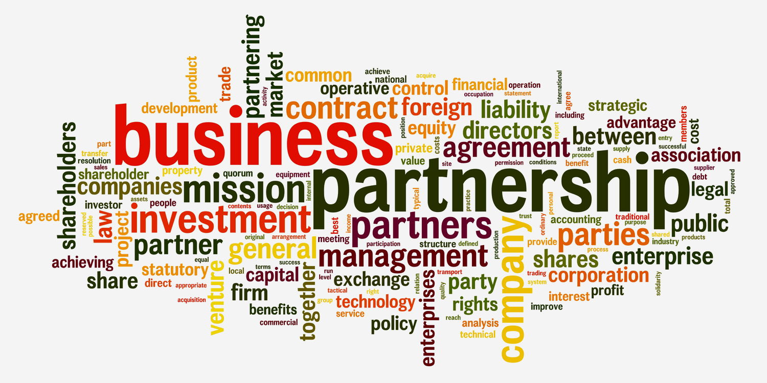 Collage of different words and phrases relevant to business partnerships