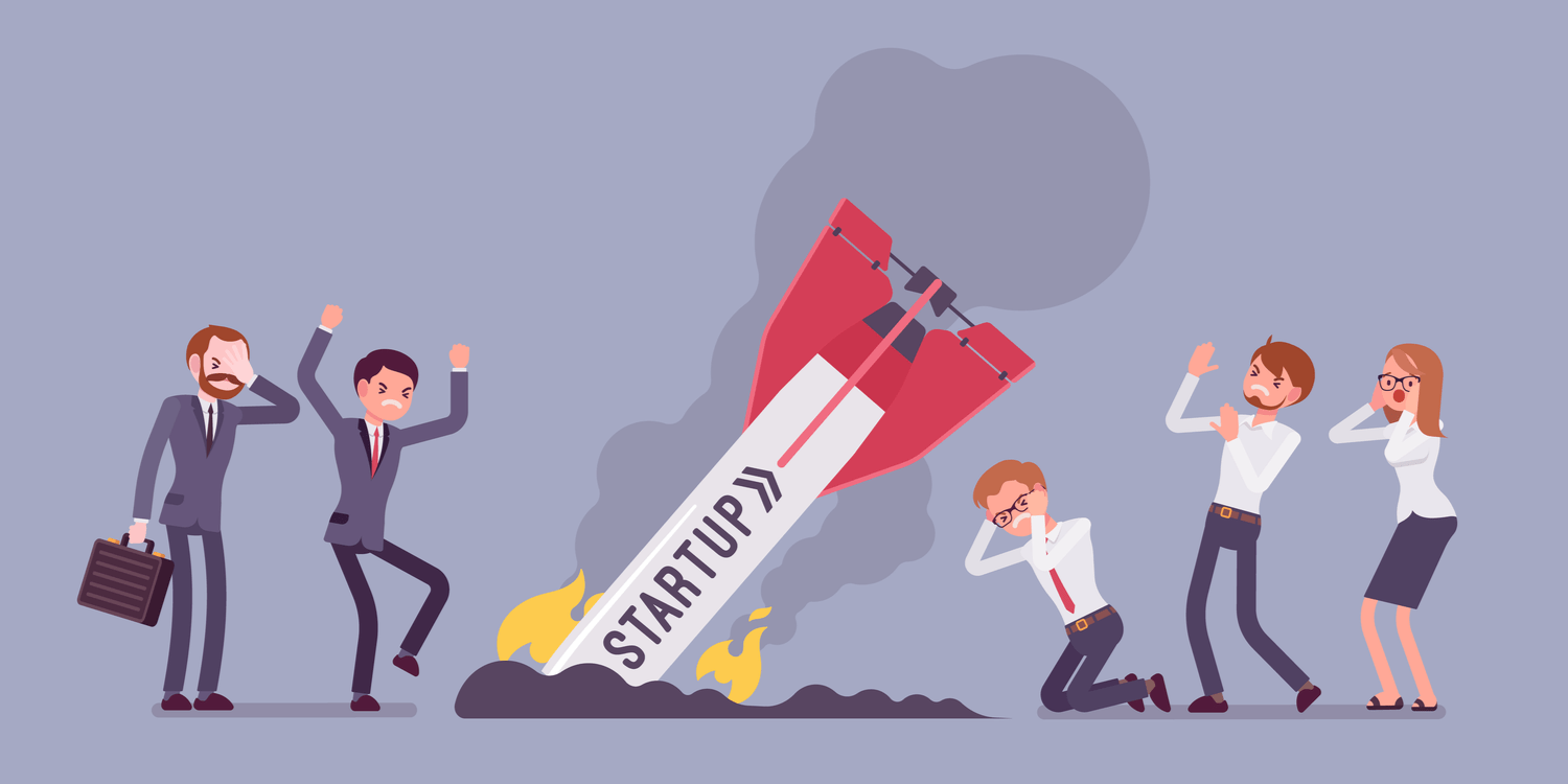 Illustration of business people in distressed mode looking at a crash landed rocket with 'STARTUP' displayed on it.