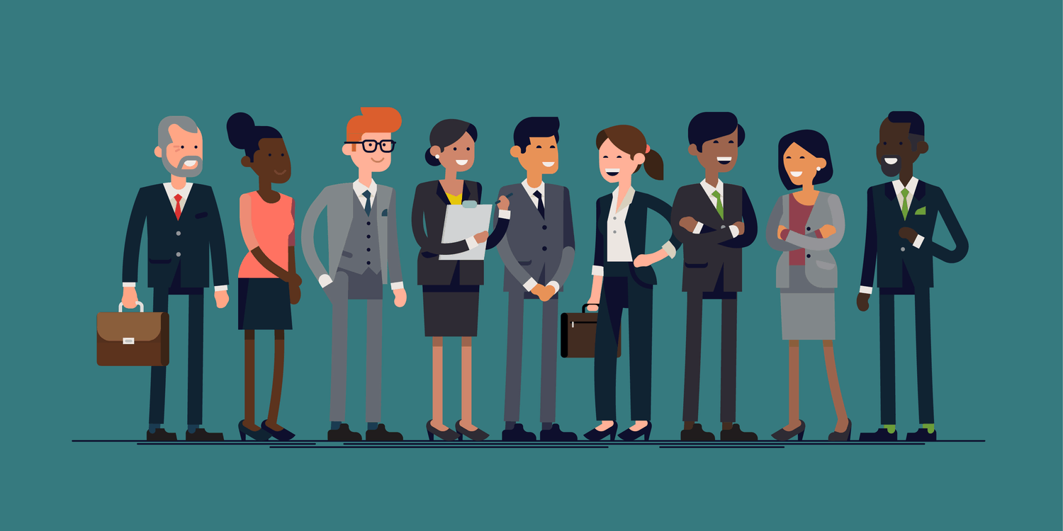 Vector illustration of diverse group of company officers standing smiling.