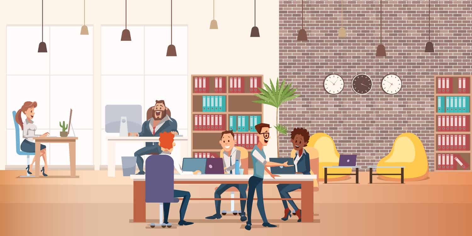 Flat vector illustation of coworking space with creative people sittng at table.