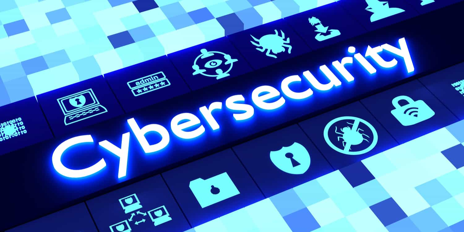 Cubed background in different sizes and blue colors aligning to a row of glowing information security icons surrounding the word cybersecurity 3D illustration.