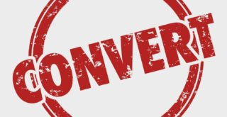 'CONVERT' logo stamped in red ink on white background.